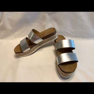 Brash sandals metallic silver straps wedge slides